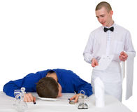 Waiter and drunk guest of restaurant Stock Photography