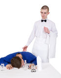 Waiter and drunk guest of restaurant Royalty Free Stock Images