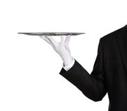 Waiter with empty silver tray