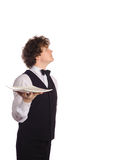 Waiter with empty tray Royalty Free Stock Images