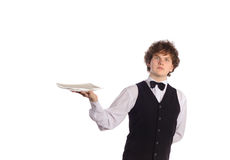 Waiter with empty tray Stock Image