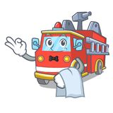 Waiter fire truck mascot cartoon. Vector illustration Royalty Free Stock Image