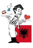 Waiter with flag of Albania Stock Images