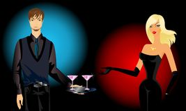 Waiter gives a  girl a cocktails Royalty Free Stock Photo