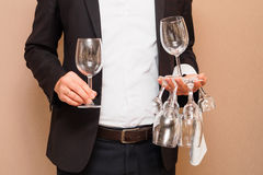 The waiter with glasses Stock Photos