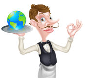 Waiter with Globe. World food concept of a posh looking waiter holding a world globe and doing a perfect sign Stock Images