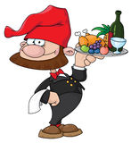 Waiter gnome with food tray. Illustration of a waiter gnome with food tray Stock Image