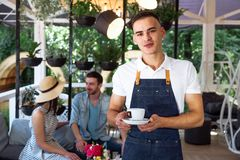 Waiter green white leaves coffee cup portrait young male barista service coffee customer cafe apron. A cute young waiter in a white T-shirt and a blue apron Royalty Free Stock Photos