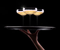 Waiter hand with champagne Stock Images