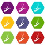 Waiter hand holding tray with wine glass icon set color hexahedron Stock Image