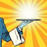 Waiter hand tray presentation Stock Photos