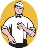 Waiter holding a blank menu paper Stock Images