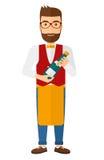 Waiter holding bottle of wine Royalty Free Stock Photo