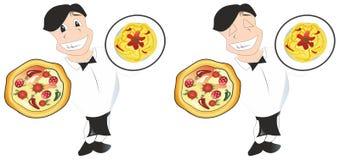 Waiter. Holding dish and smile Stock Image