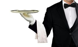 Waiter holding empty silver tray Royalty Free Stock Images