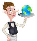 Waiter Holding Globe Stock Image