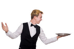 The waiter holding plate isolated on white Royalty Free Stock Images