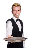 The waiter holding plate isolated on white Stock Images
