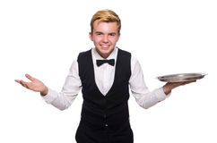 The waiter holding plate isolated on white Stock Photo