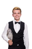 The waiter holding plate on white Stock Photography