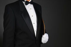 Waiter Holding Serving Tray Under His Arm Royalty Free Stock Images