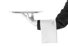 Waiter holding a silver tray. Isolated on white royalty free stock image