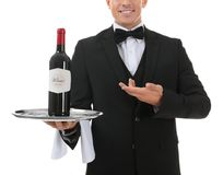 Waiter holding tray with bottle of wine. On white background Royalty Free Stock Photo