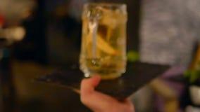 Waiter glasses cocktail event stock video