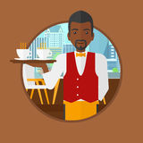 Waiter holding tray with cups of coffeee or tea. Royalty Free Stock Photography