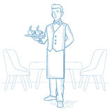 Waiter holding tray with cups of coffeee or tea. Royalty Free Stock Photo