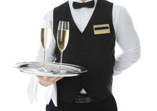 Waiter holding tray with glasses of champagne. On white background Royalty Free Stock Photography