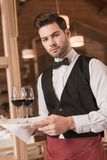 Waiter holding tray with wineglasses Royalty Free Stock Image