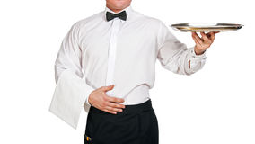Waiter holding tray. Royalty Free Stock Photography