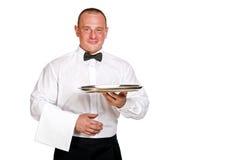 Waiter holding tray. isolated over white background. Stock Images