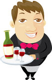 Waiter holding a tray with red wine Royalty Free Stock Image