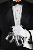 Waiter Holding Wine Glasses royalty free stock images