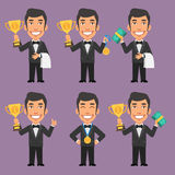 Waiter Holds Cup Medal and Money Stock Image