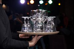 tray with clean empty glasses. royalty free stock images