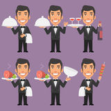 Waiter Holds Wine Towel and Tray Meat Royalty Free Stock Image
