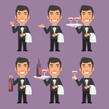 Waiter Holds Wine and Towel Stock Photos