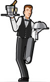 Waiter  illustration. Waiter striding, carrying champaign wine and hot meal to the table. Vector illustration on white background Royalty Free Stock Image