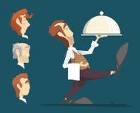 Waiter illustration Royalty Free Stock Photo