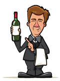 Waiter Illustration with Wine Bottle Royalty Free Stock Photos