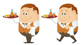 Waiter with Juice and Buns Seamless Loop stock video footage