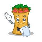 Waiter kebab wrap character cartoon. Vector illustration royalty free illustration