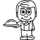 Waiter kids coloring page Stock Photo