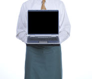 Waiter with Laptop stock photo