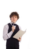 Waiter with laptop used like menu. Young handsome waiter with laptop used like menu, isolated on white Stock Photos