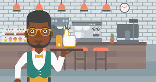 Waiter with like button. Royalty Free Stock Image