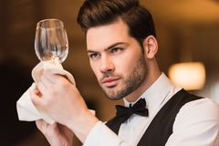 Waiter looking at clean wineglass Royalty Free Stock Images